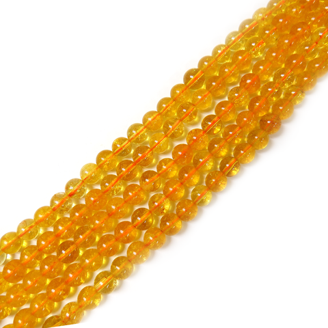 Citrine Smooth Round, 6mm - 1 strand
