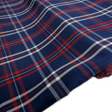 "School Plaids, Dark Blue Red White, 60"" Wide; 1 yard"