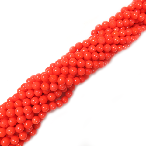 Smooth Round Pink Coral Beads, 6mm - 1 strand