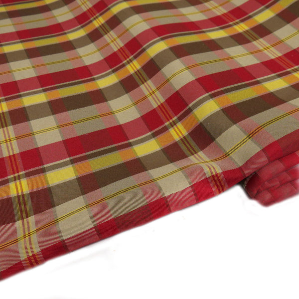 "School Plaids, Yellow Brown Red, 60"" Wide; 1 yard"