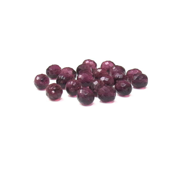 Amethyst, Round Faceted Fire Polished; 10 mm - 20 pcs