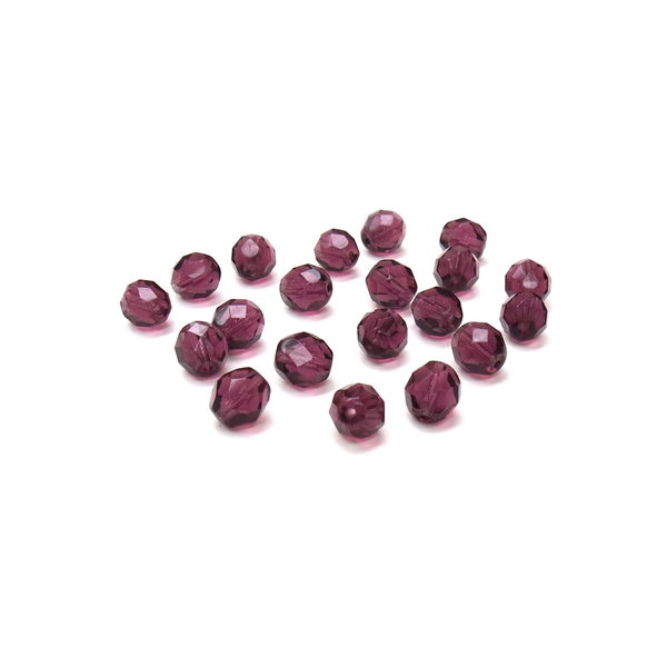 Amethyst, Round Faceted Fire Polished; 8mm - 20 pcs