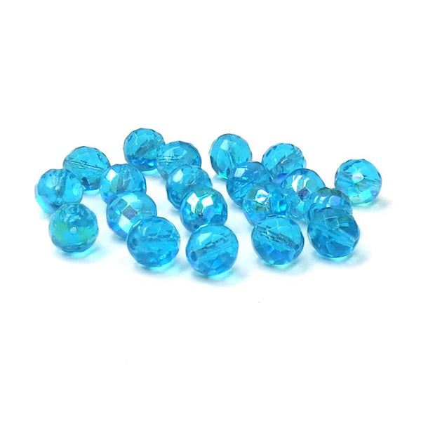 Aqua AB, Round Faceted Fire Polished; 12mm-20pcs