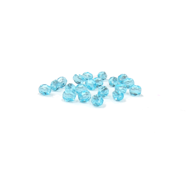 Aquamarine, Round Faceted Fire Polished; 4mm - 20 pcs
