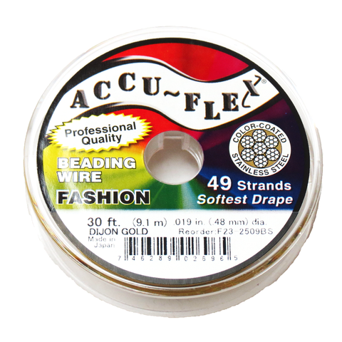 Accu-Flex Beading Wire-49 strands, 19in/30ft; Gold