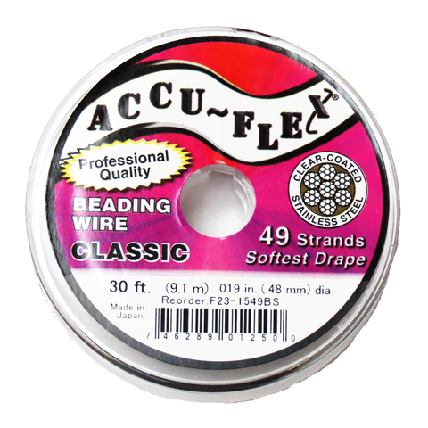 Accu-Flex Beading Wire-49 strands, 19in/30ft; Silver