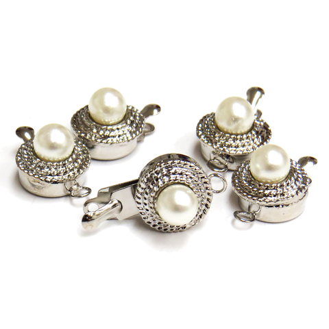 Pearl Box Clasp, Antique Silver,10 x 10 mm; 5 pieces