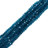 Aqua, Round Faceted Glass Bead, 4mm; 1 strand