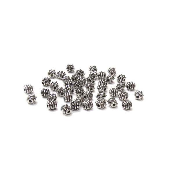Barrel Spacer Silver, 4mm - 24 pcs