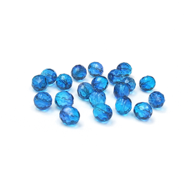 Bermuda Blue, Round Faceted Fire Polished- 10mm; 20pcs