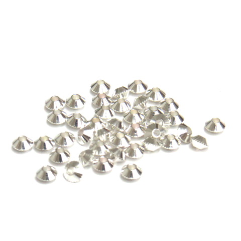 Bicone Spacer Beads, Silver Plated, 4mm, 100 pieces