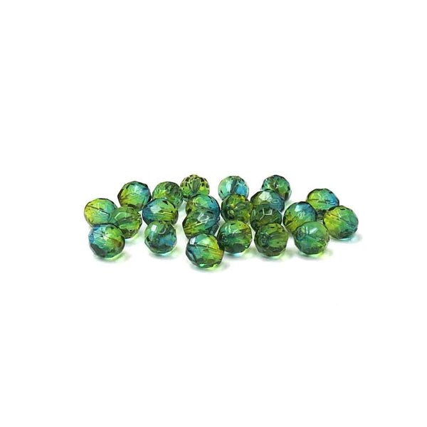 Blue Green, Round Faceted Fire Polished, 10 mm - 20 pcs