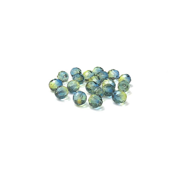 Blue/Green, Round Faceted Fire Polished, 8mm - 20 pcs