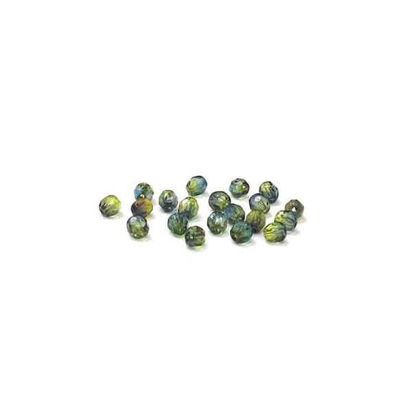 Blue Green, Round Faceted Fire Polished; 4mm - 20 pcs
