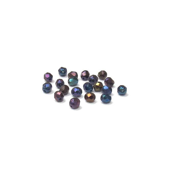 Blue Irish, Round Faceted Fire Polished; 6mm - 20 pcs