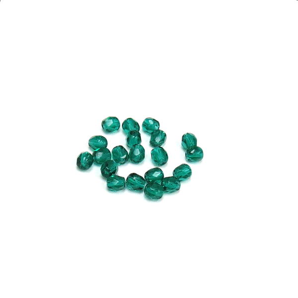 Blue Zircon, Round Faceted Fire Polished Beads- 6mm; 20pcs