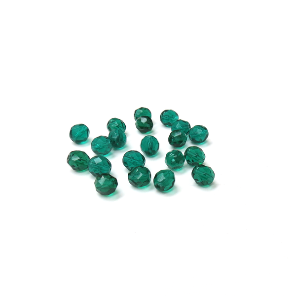 Blue Zircon, Round Faceted Fire Polished; 8mm - 20 pcs