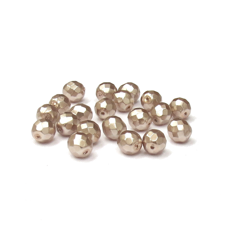 Bronze Pearl, Round Faceted Fire Polished Beads-10mm; 20pcs
