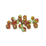 Brown/Green, Round Faceted Fire Polished Beads-10mm; 20pcs