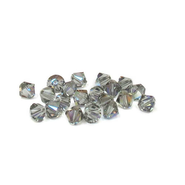 Swarovski Crystal, Bicone, 6mm - Black Diamond AB; 20 PCS