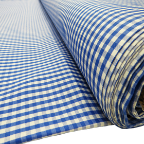 Royal Blue, 100% Polyester Gingham Check 1/8- 58