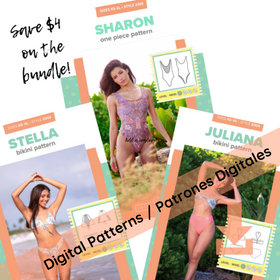 DIGITAL - 3 Patterns - Sharon One piece, Juliana Bandeau Bikini and Stella Triangle Bikini - all sizes included