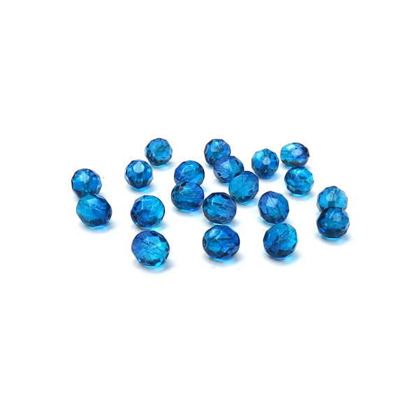 Bermuda Blue , Round Faceted Fire Polished; 8mm - 20 pcs