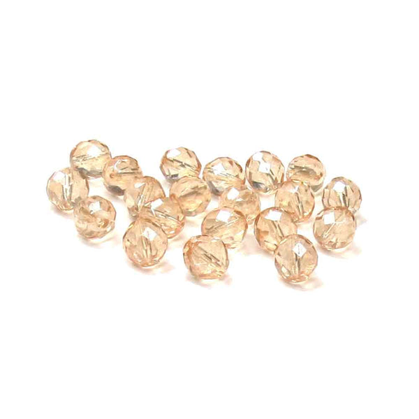 Champagne, Round Faceted Fire Polished; 12 mm - 20 pcs