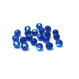 Cobalt AB, Round Faceted Fire Polished Beads-10mm; 20pcs
