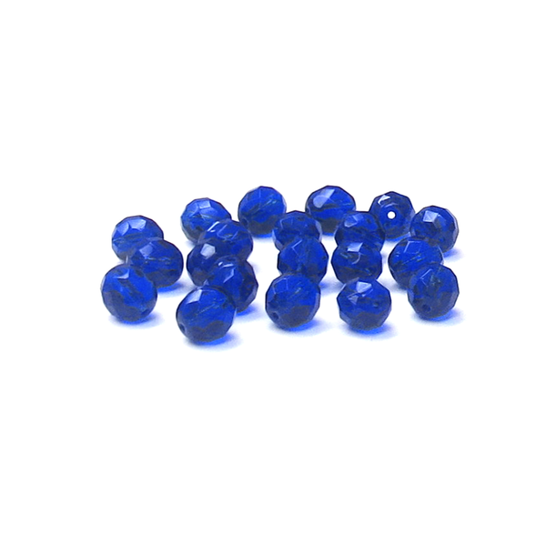 Cobalt, Round Faceted Fire Polished Beads-10mm; 20pcs