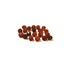 Coffee, Round Faceted Fire Polished; 6mm - 20 pcs