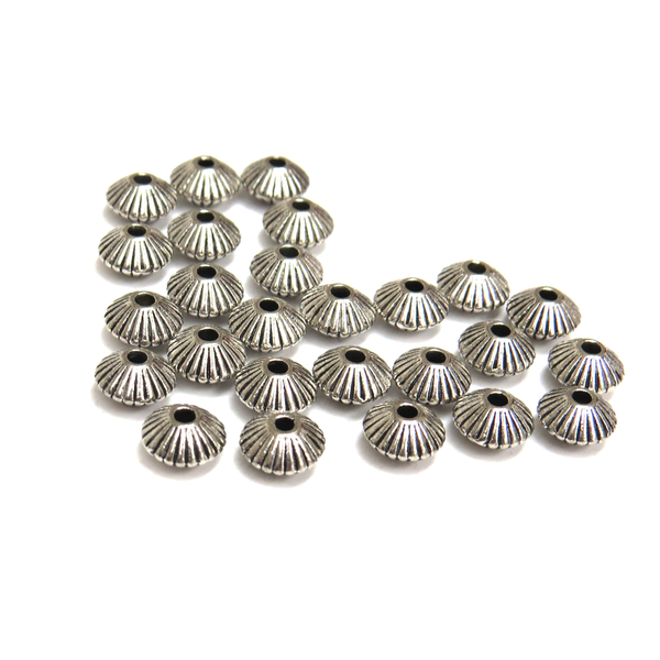Corrugated Bicone Spacer, Antique Silver, 8mm; 25 pieces
