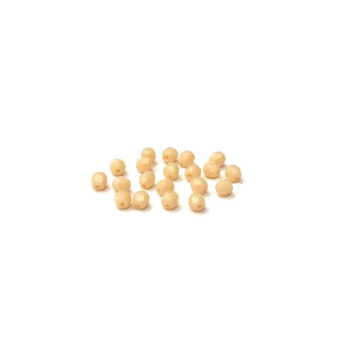 Cream Opaque, Round Faceted Fire Polished; 4mm - 20 pcs