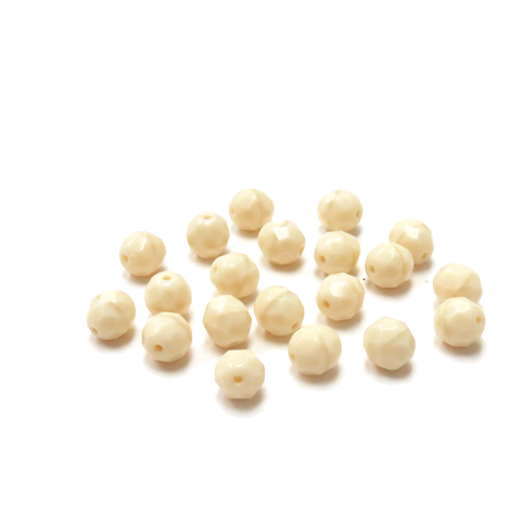 Cream Opaque, Round Faceted Fire Polished Beads; 8mm-20 pcs