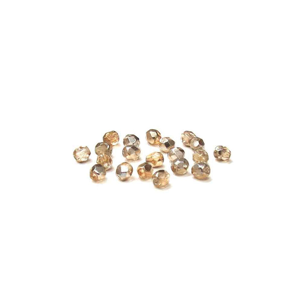 Crystal Gold, Round Faceted Fire Polished; 4mm - 20 pcs