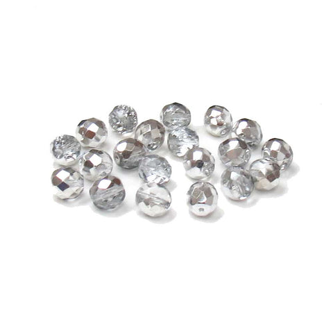 Crystal Silver, Round Faceted Fire Polished, 10mm; - 20 pcs