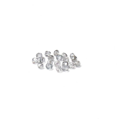 Crystal Silver, Round Faceted Fire Polished; 4mm - 20 pcs