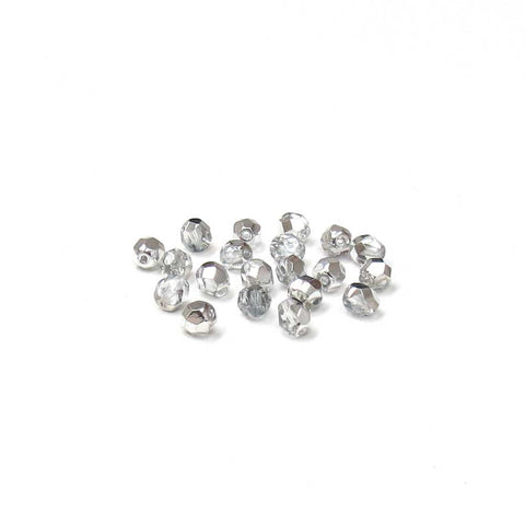 Crystal Silver, Round Faceted Fire Polished; 6mm - 20 pcs