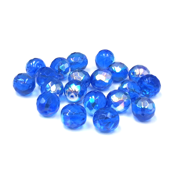 Cobalt AB, Round Faceted Fire Polished, 12mm- 20pcs