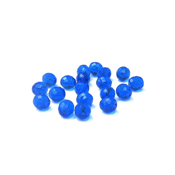 Dark Sapphire, Round Faceted Fire Polished Beads-10mm; 20pcs