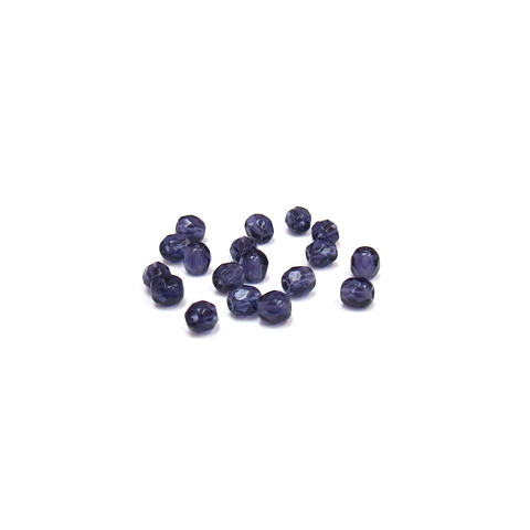 Dark Purple, Round Faceted Fire Polished; 4mm - 20 pcs