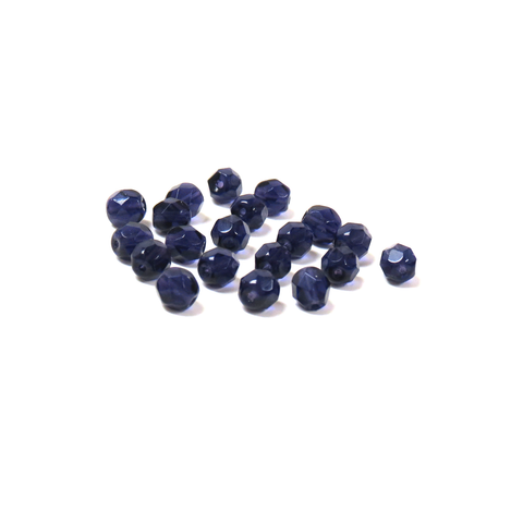 Dark Purple, Round Faceted Fire Polished; 6mm - 20 pcs