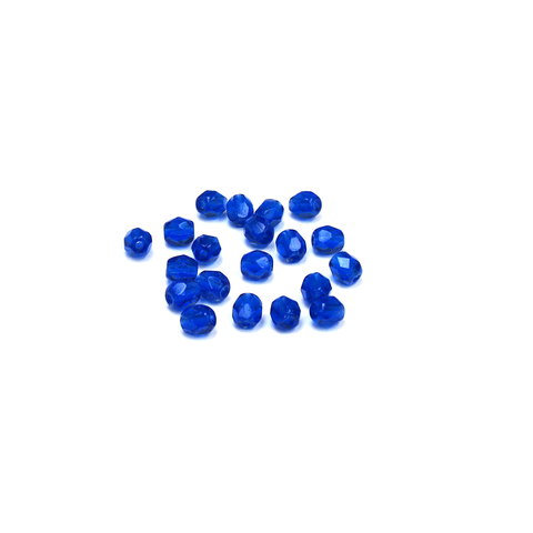 Cobalt, Round Faceted Fire Polished; 4mm - 20 pcs