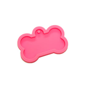 Dog Bone Tag Pink Silicone Mold for Resin - Approx. 2.25