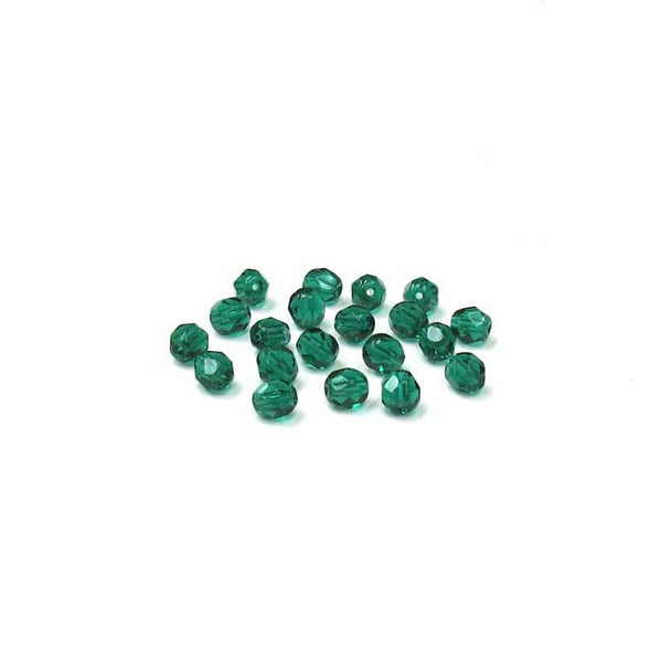 Emerald, Round Faceted Fire Polished, 6mm; 20- pcs