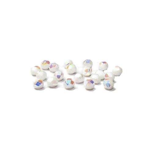 White AB, Round Faceted Fire Polished; 8mm - 20 pcs