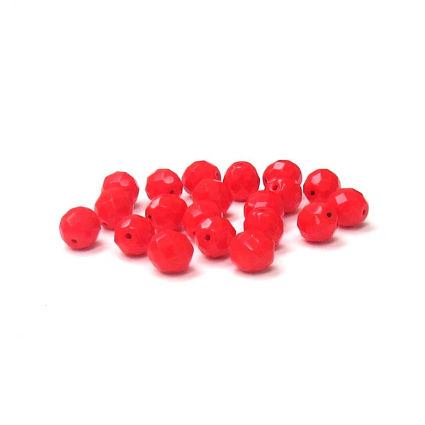 Fire Coral, Round Faceted Fire Polished Beads-10mm; 20pcs