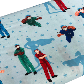 Frontline Heroes BLue- 100% Cotton Print Fabric, 45
