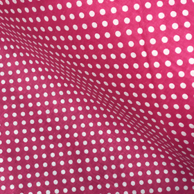 Fuschia and White Polka Dots - 100% Cotton Print Fabric, 44/45