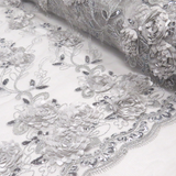 "Silver, Fancy Wedding Fabrics for tablecloth - 51"" wide; 1 Yard"